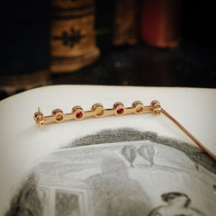 Sublime Circa 1900 Antique Ruby and Pearl Bar Pin