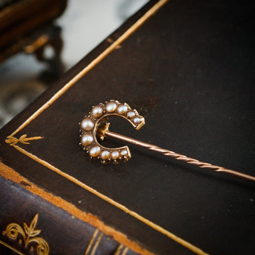 Date 1895 15ct Gold & Seed Pearl Lucky Horseshoe Stick Pin
