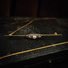 Antique Vintage Diamond Pearl Brooch