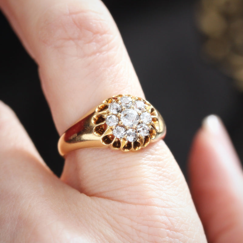 Romantic Love! Date 1902 Diamond Cluster Ring