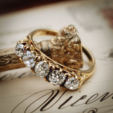 Mmmmarvellously Majestic Antique Victorian Diamond Five-Stone Ring