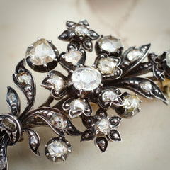 A Truly Impressive Antique Rose Cut Diamond Corsage Brooch