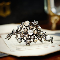 Antique Rose Cut Diamond Corsage Brooch