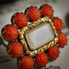 Sentimental Antique Georgian Carved Coral Roses Hair Brooch