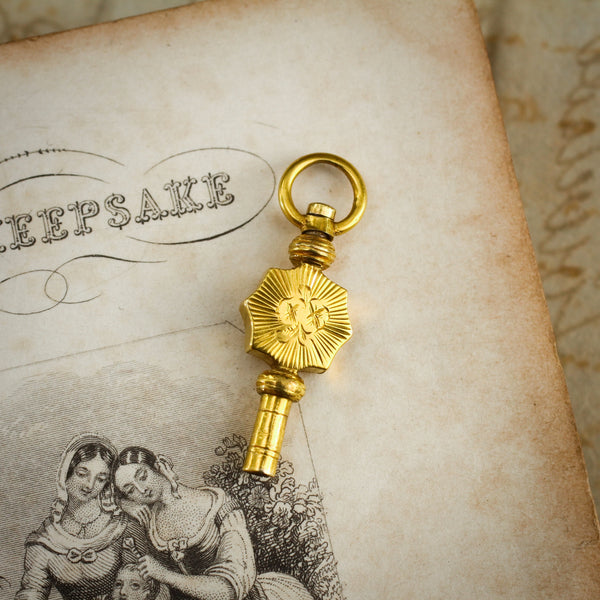 Belovedly Cute Antique 15ct Gold Watch Key Fob