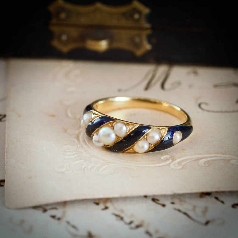 Sentimental Victorian Enamel & Natural Pearl Ring