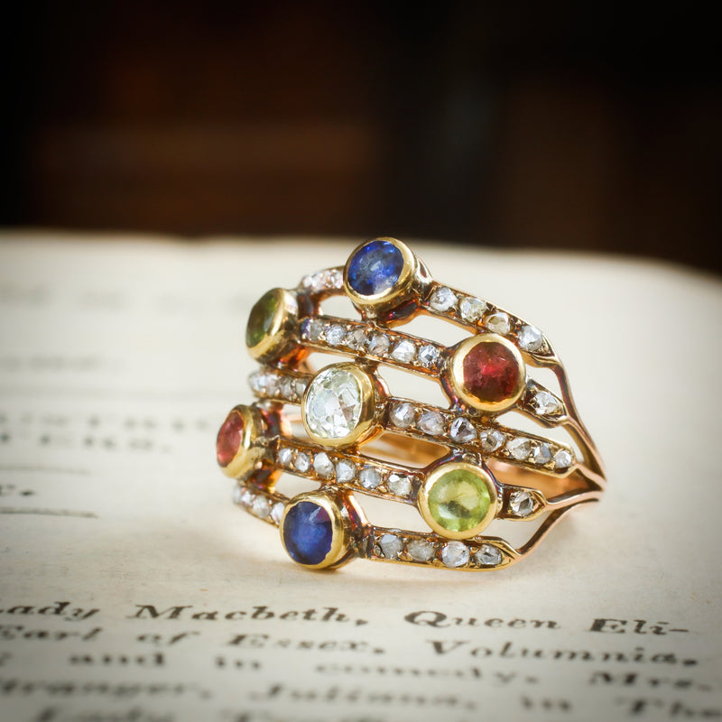 Our New Muse! A Rare Georgian Multi-Gem Harlequin Ring
