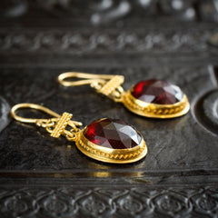 Antique Victorian Castellani Style Etruscan Revival Faceted Garnet Earrings