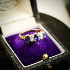 An Enchanting Old Edwardian Sapphire and Diamond Ring