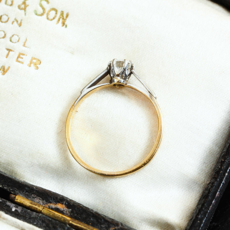 Vintage Mid Century Diamond Solitaire Engagement Ring