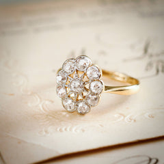 Glorious Starburst Vintage Edwardian Diamond Cluster Ring