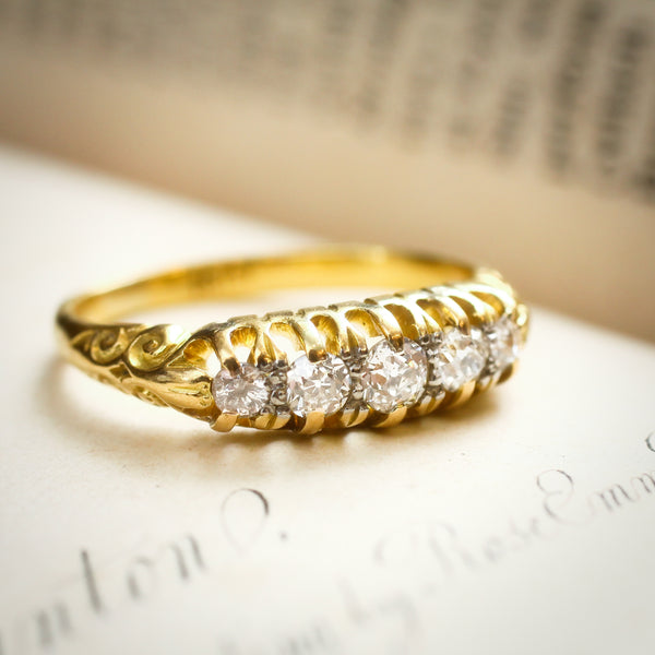 Circa 1900 Dreamy Carved Half Hoop Diamond Ring