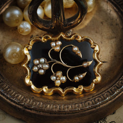 Antique Victorian Enamel, Wild Pearl and Diamond Mourning Brooch