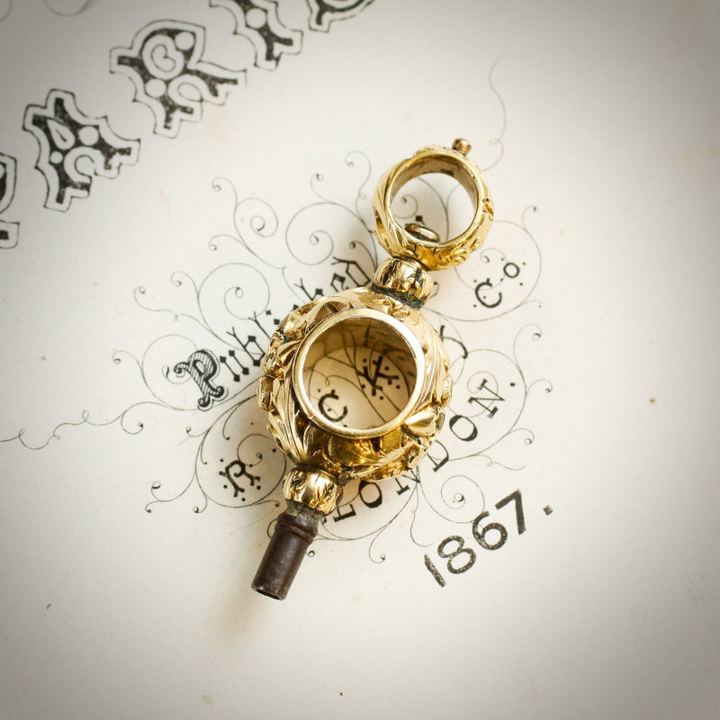 Exquisitely Chased Antique Georgian Fob Watch Key