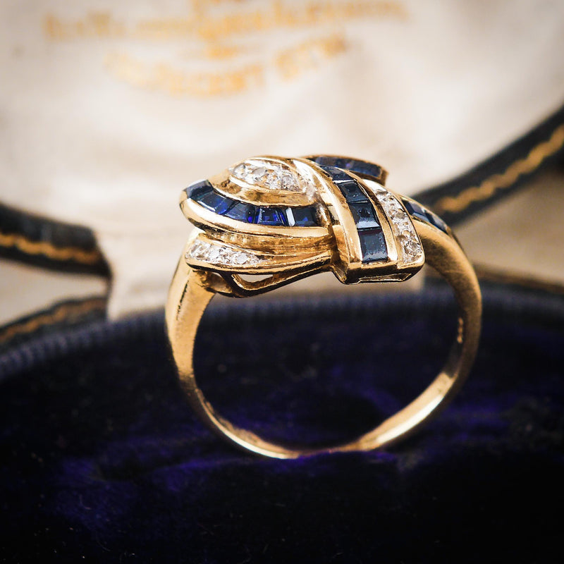 Glam Vintage 1980's Sapphire & Diamond Cocktail Ring