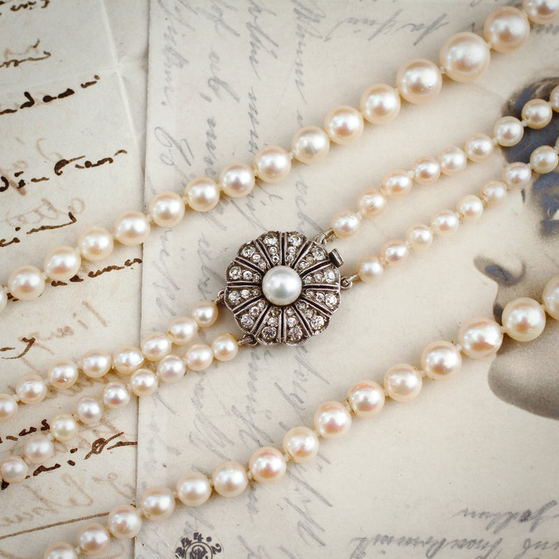 Double Row of Vintage Cultured Saltwater Akoya Pearls