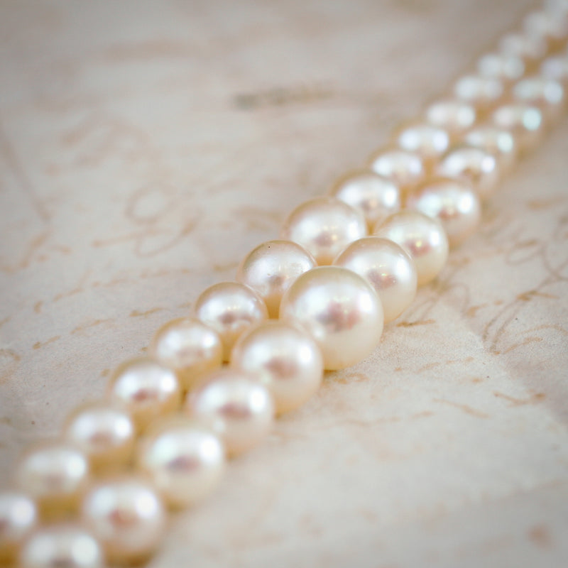 Classy and Chic Double Row of Vintage Cultured Saltwater Akoya Pearls