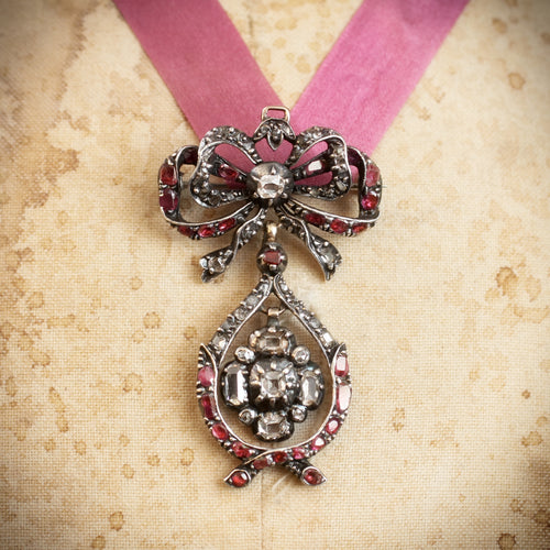 A Rare Antique Pendeloque Bodice Jewel set with Table Cut Diamonds and Rubies