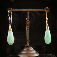 Vintage Untreated Cloudy Jade Teardrop Earrings