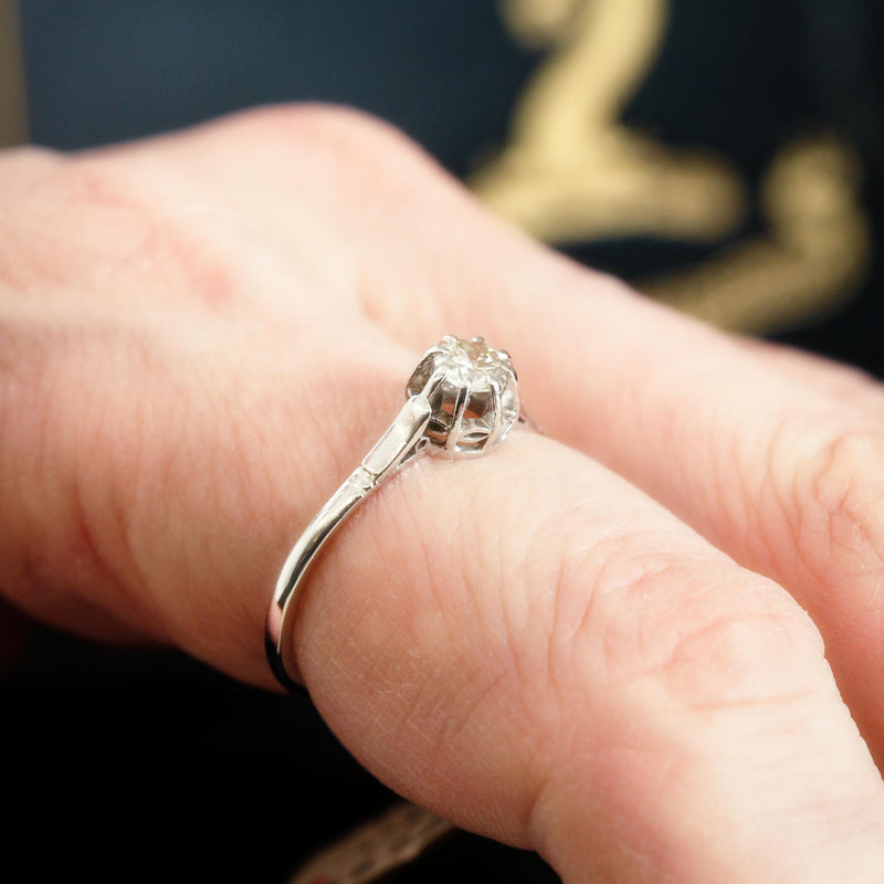 Fine 1930's Era Platinum and Diamond Solitaire Engagement Ring