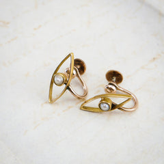 A Pair of Vintage Seed Pearl 9ct Gold Screw Fit Earrings