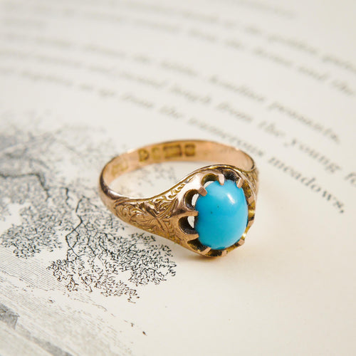 Romantic Date 1907 Turquoise & Gold Ring