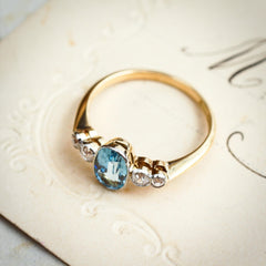 Rare Pristine Vintage Aquamarine & Diamond Ring