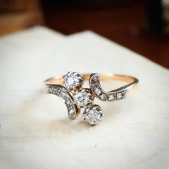 A Wonderfully Romantic Antique Trilogy Diamond Ring