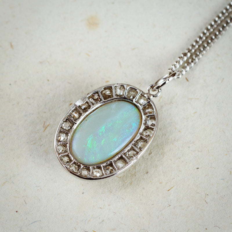 Rare Lovely! Vintage Crystal Opal and Diamond Cluster Pendant