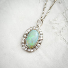 Vintage Opal and Diamond Cluster Pendant