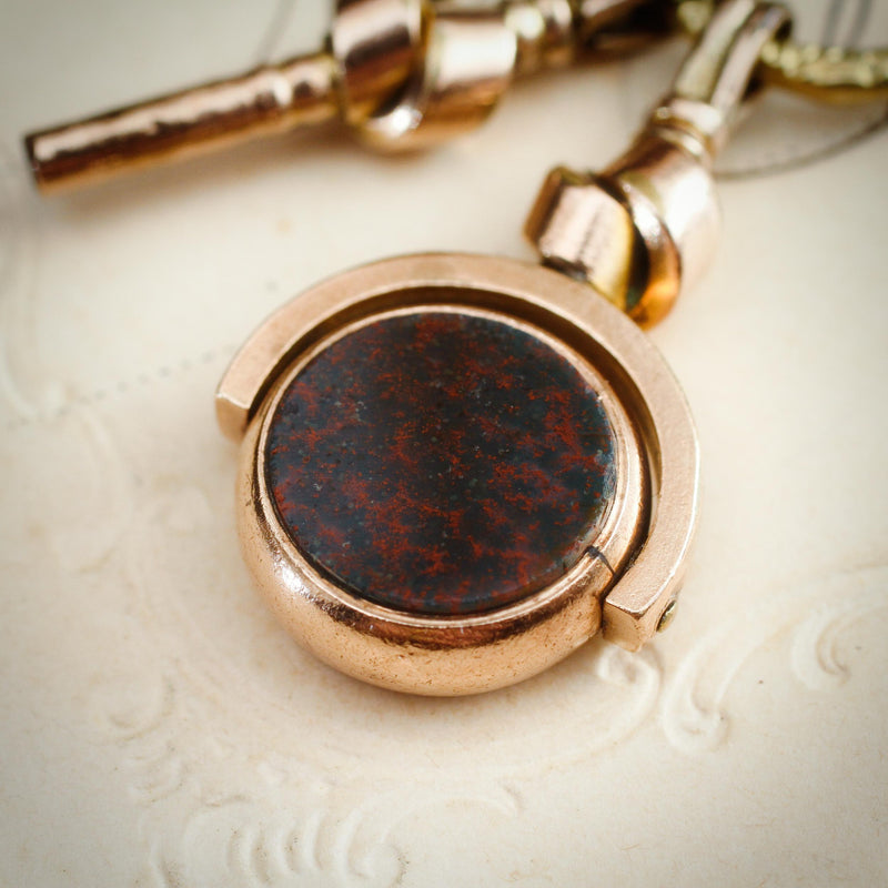 Antique Victorian Matching Bloodstone Fob and Watch Key