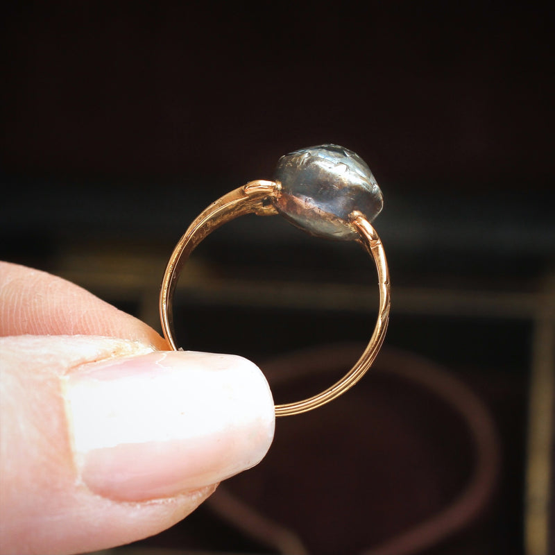 Antique Victorian Paste Button Ring