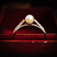 Sweeet 1920's Era Natural Pearl and Diamond Ring