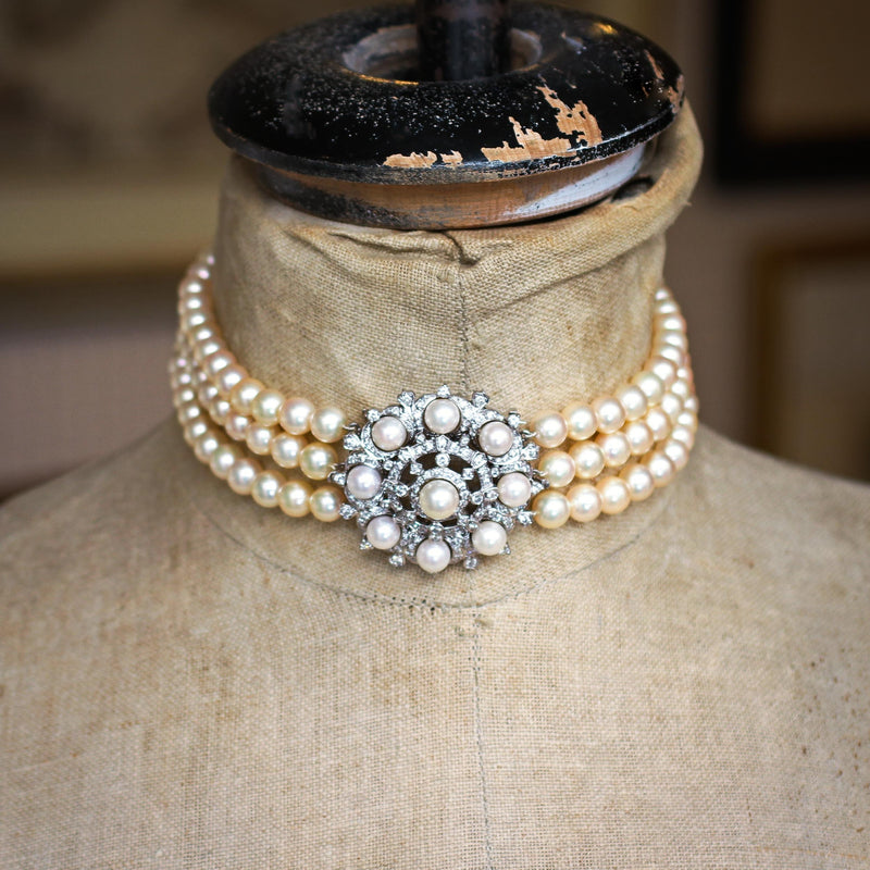 Vintage Mid Century Glamour! Convertible Row Cultured Pearl Choker