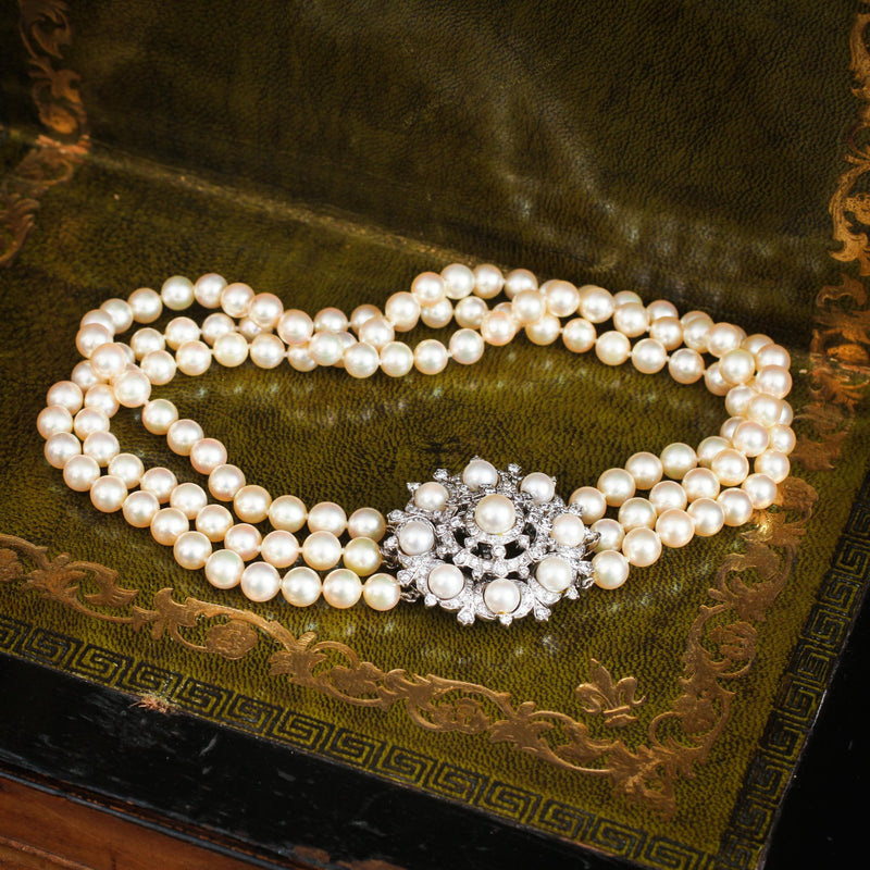 Vintage Mid Century Glamour! Convertible 3 Row Cultured Pearl Choker