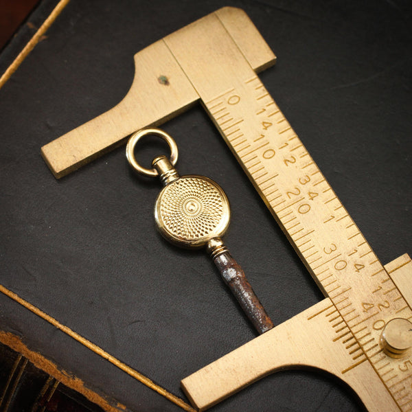 Antique Victorian Guilloche Engraved Watch Key Charm