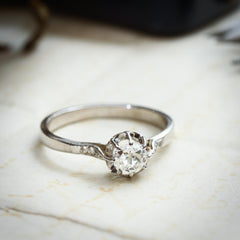 Vintage French 18ct White Gold Diamond Engagement Ring