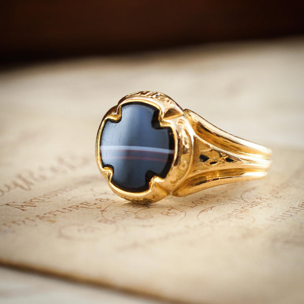 Extraordinary Date 1853 Banded Agate Mourning Signet Ring