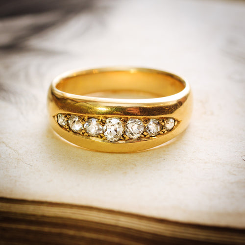 Handsomely Antique Victorian Gent's Diamond Band Ring