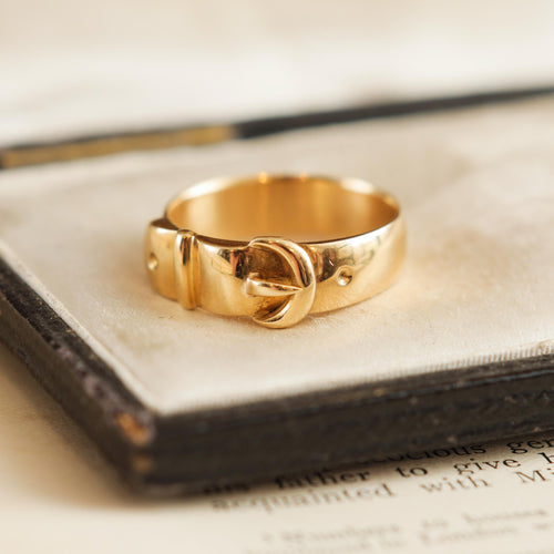 Antique 18ct Yellow Gold Buckle Ring