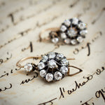 Antique Victorian Era Diamond Flower Cluster Drop Earrings