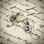 Adorably Antique Victorian Era Diamond Flower Cluster Drop Earrings