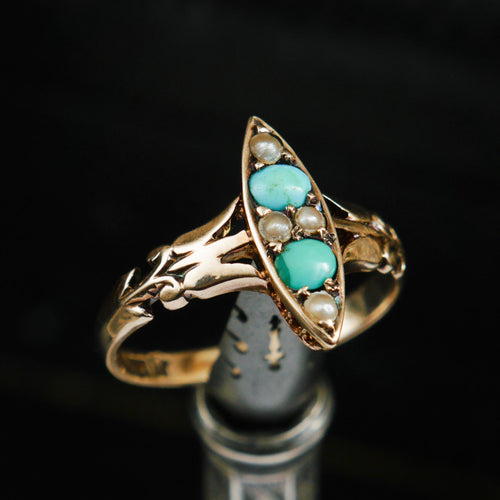Poetic Art Nouveau Turquoise & Seed Pearl Ring