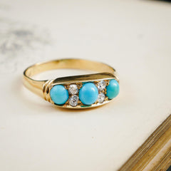Vibrant Antique Turquoise & Diamond Ring