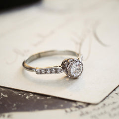 Vintage White Gold Diamond Solitaire Engagement Ring