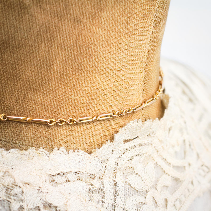 Fancy Link Antique Gold Watch Chain Necklace