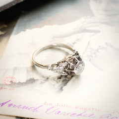 Vintage White Gold Diamond Engagement Ring