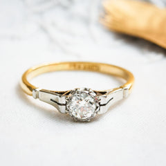 Old European Cut Diamond Solitaire Ring