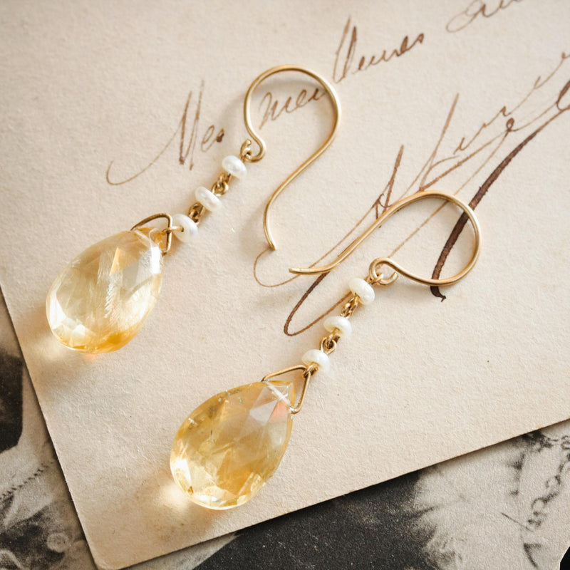 Antique Edwardian Citrine & Natural Pearl Earrings