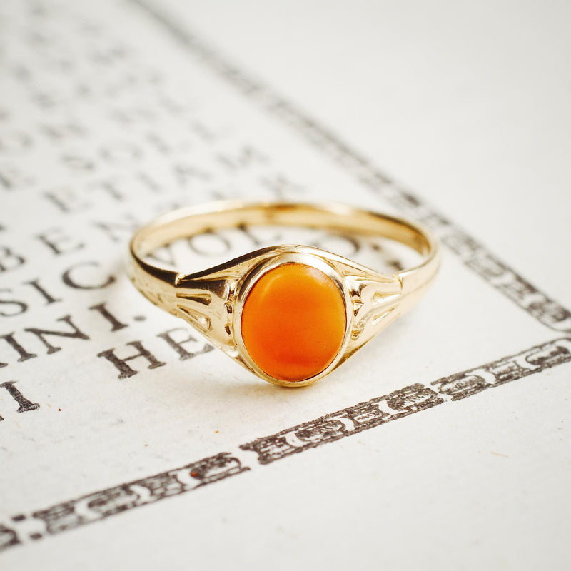 Refined 18ct Gold Ladies Carnelian Signet Ring